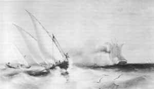 The gunvessel Grinder chasing Russian boats in the Sea of Azov, 31 August 1855 - Dapper Class Wooden Gunboat similar to HMS Boxer