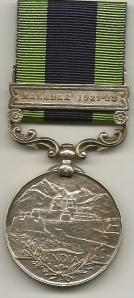 IGSM Malabar 1921-22 Rev 391434 Tpr F Johnston The Bays
