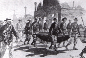 Admiral Seymour returning to Tianjin with his wounded men, on 26 June.